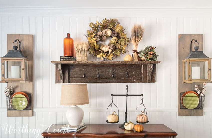 Farmhouse style sideboard fall vignette || Worthing Court