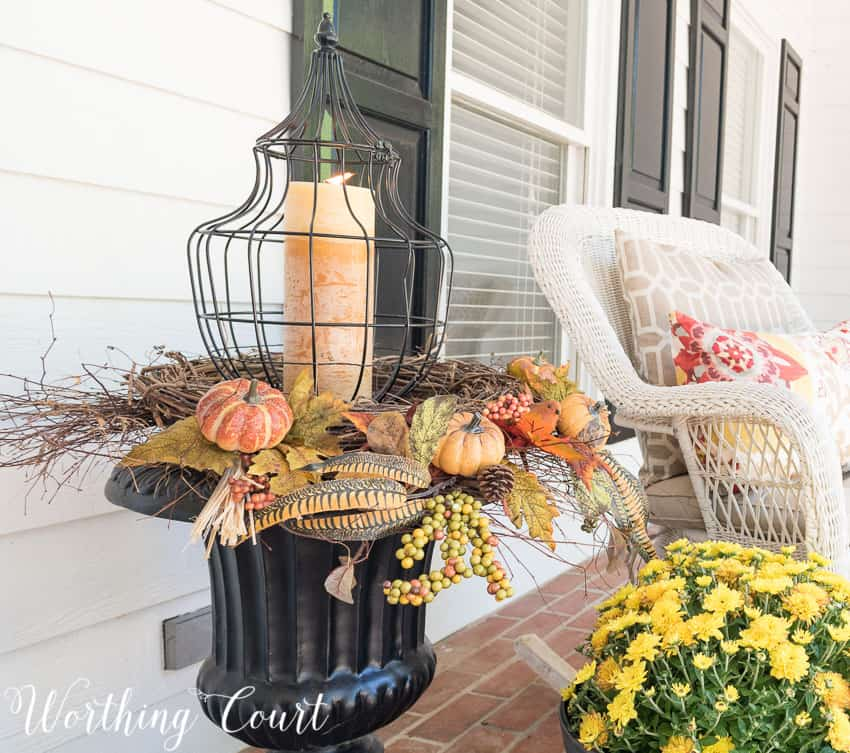 Fall urn with a lantern, twig wreaths and fall picks || Worthing Court