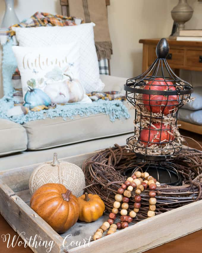 Fall coffee table vignette || Worthing Court