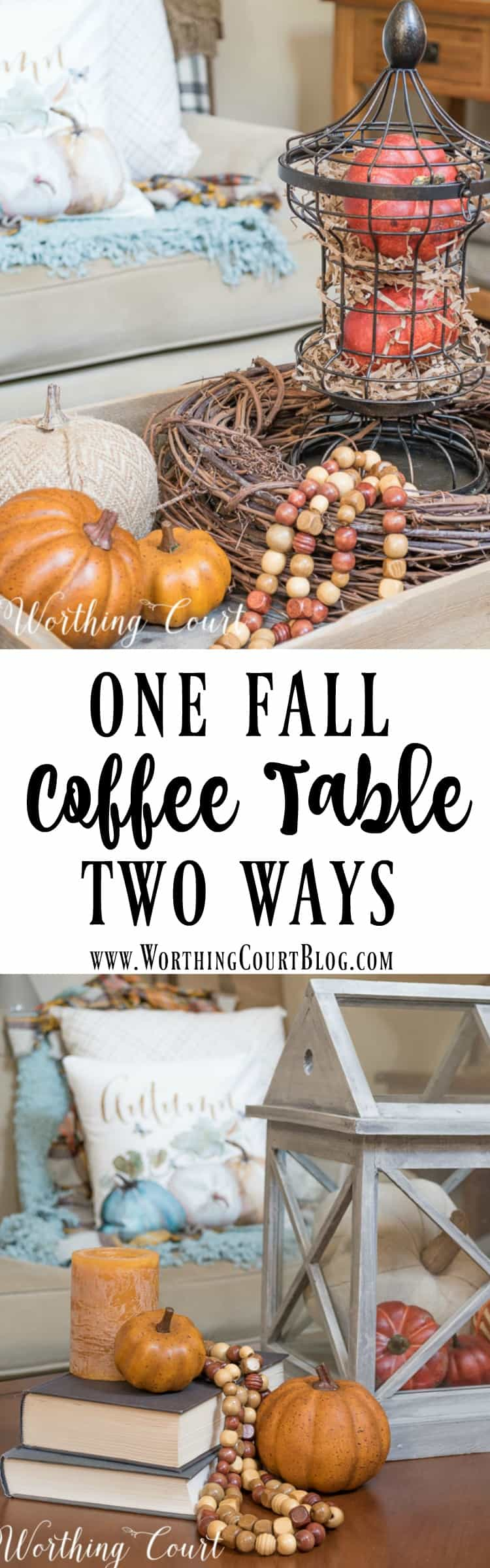 Two different fall coffee table vignette ideas || Worthing Court