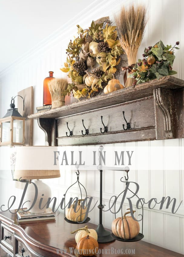 Fall decor in a farmhouse style dining room