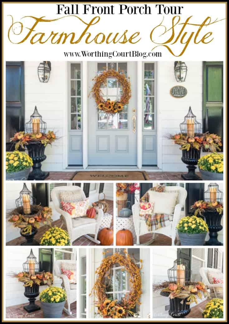 Farmhouse fall front porch tour || Worthing Court