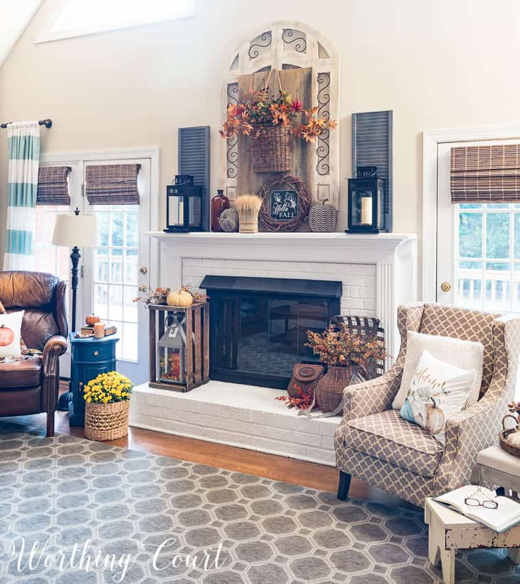 Farmhouse fall mantel and fireplace || Worthing Court