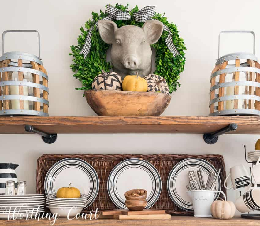 rustic shelves with fall decorations