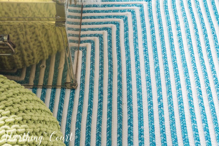 Turquoise and white indoor outdoor rug