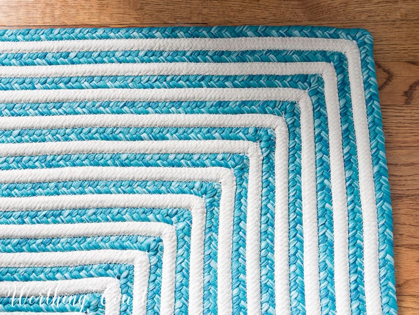 Turquoise and white striped indoor-outdoor rug || Worthing Court