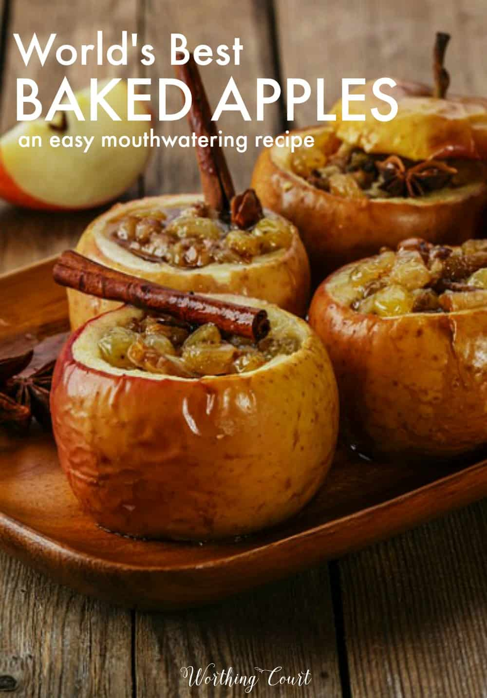 The world's best baked apples recipe graphic.