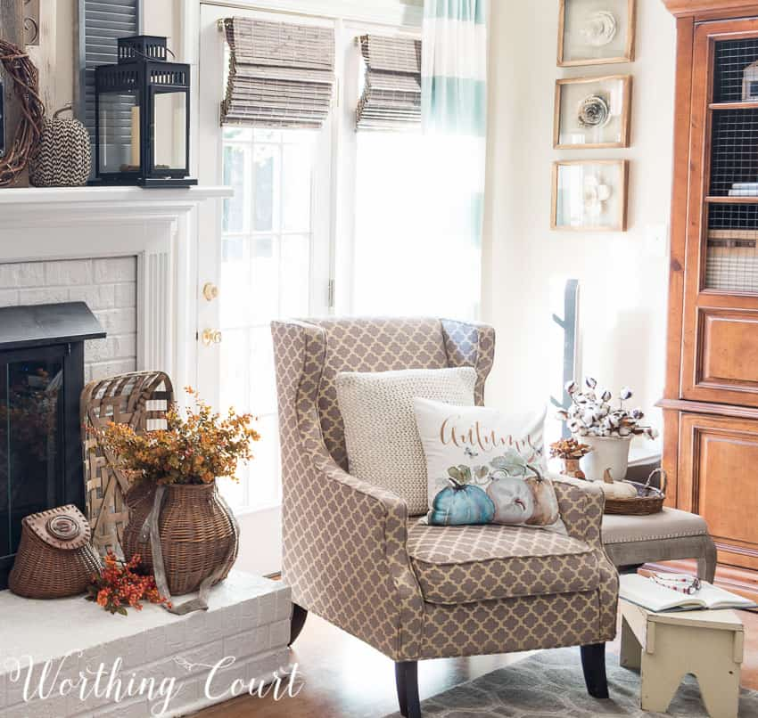 Cozy fireside fall vignette || Worthing Court