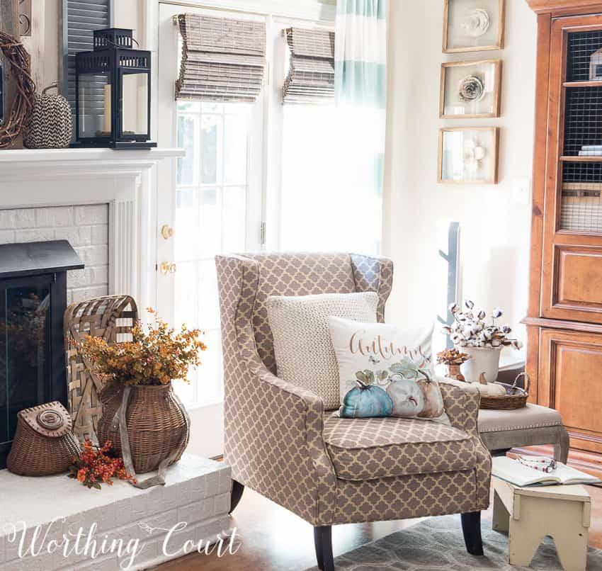 Cozy fireside fall vignette || Worthing Court