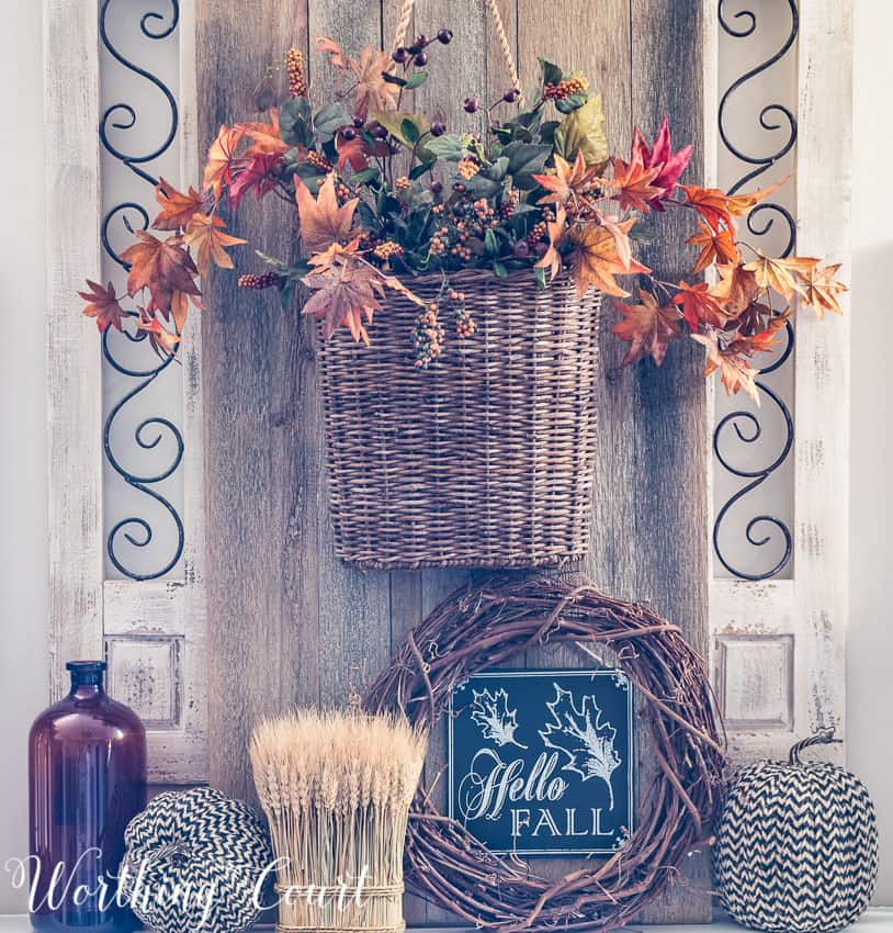 Fall hanging basket above the fireplace