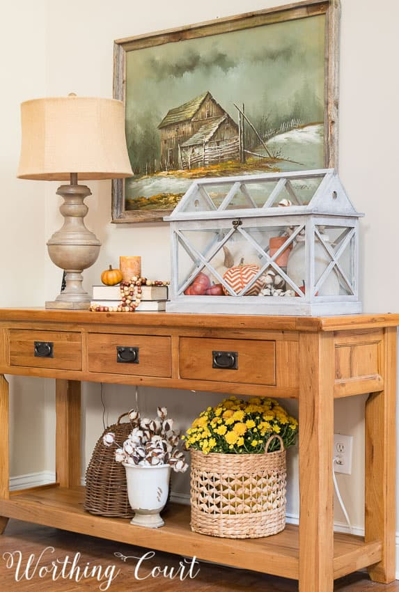Fall vignette on a console table || Worthing Court