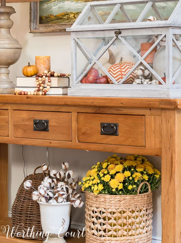Fall sofa table vignette || Worthing Court
