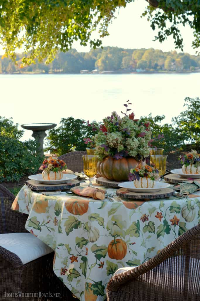 Al Fresco Fall Table With Blooming Pumpkins