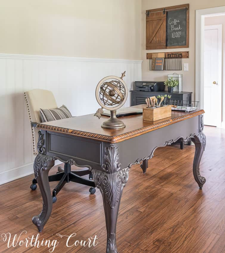 A small chest in a home office makes a great piece to hold your printer and office supplies || Worthing Court