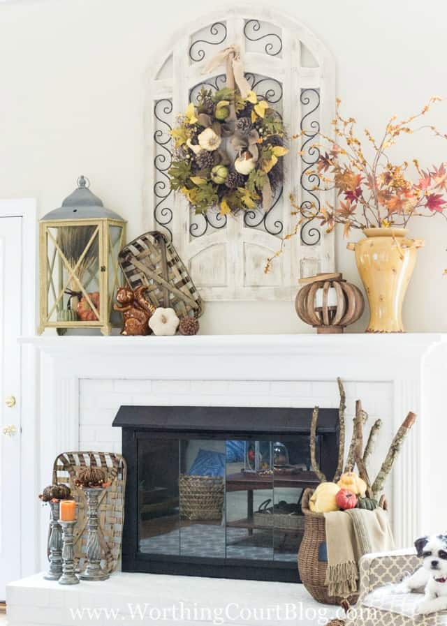 Fall mantel with rustic and farmhouse touches || Worthing Court