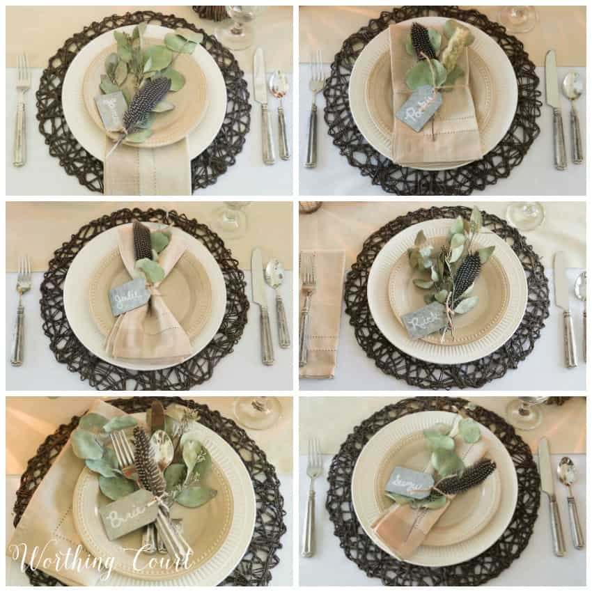 Six different Thanksgiving place settings using the same elements