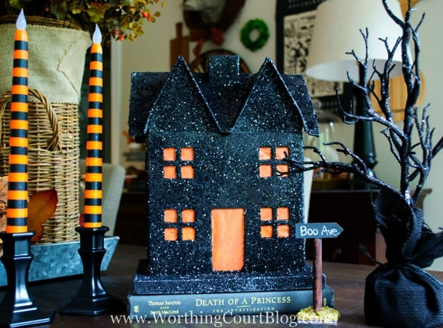 An Easy to Make Pottery Barn Inspired Slightly Scary Halloween House.
