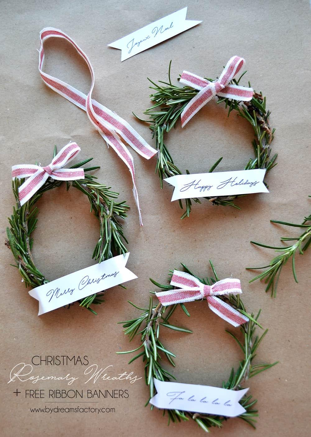 Christmas Rosemary Wreaths + Banners