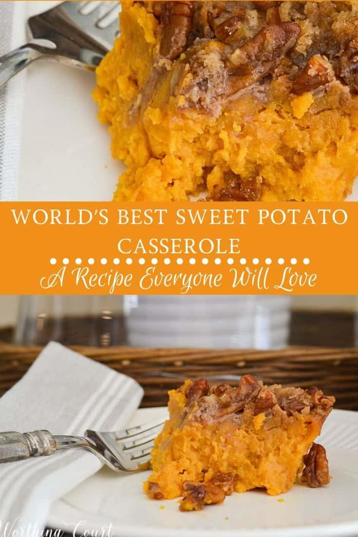 single serving of sweet potato casserole
