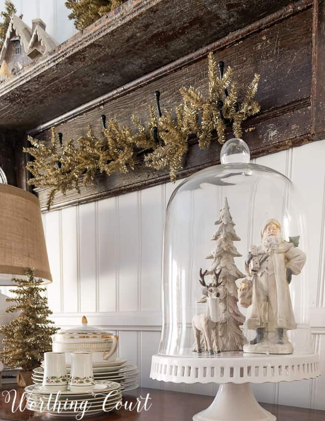 Christmas cloche display on a cake pedestal || Worthing Court