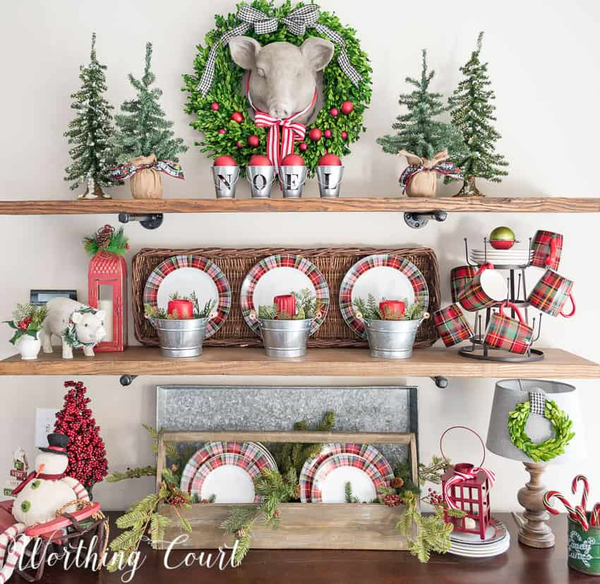 rustic shelves decorated for christmas using plaid dishes worthing court - Christmas Shelf Decorations