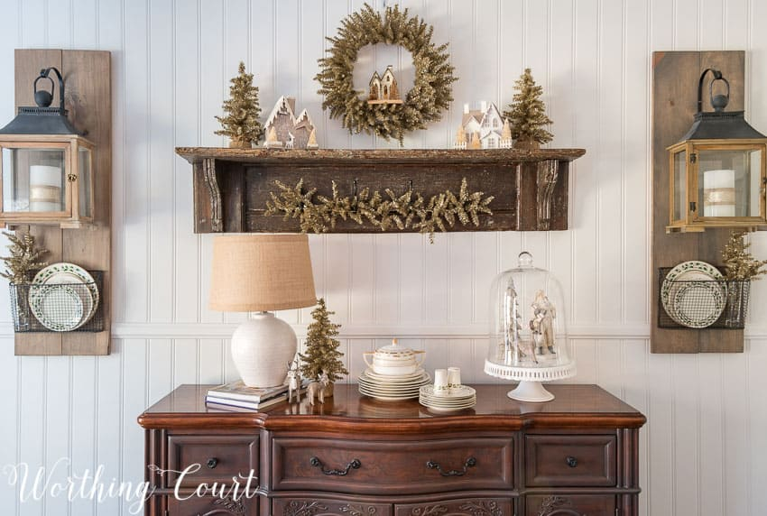 Trend Christmas farmhouse sideboard and vintage shelf Worthing Court