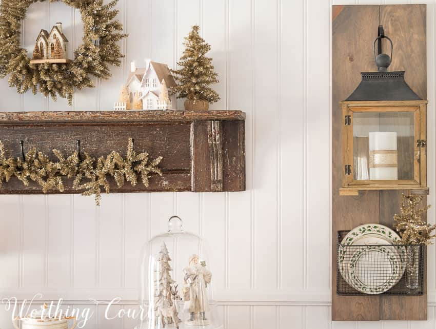 DIY Fixer Upper style hanging lantern display decorated for Christmas    Worthing Court