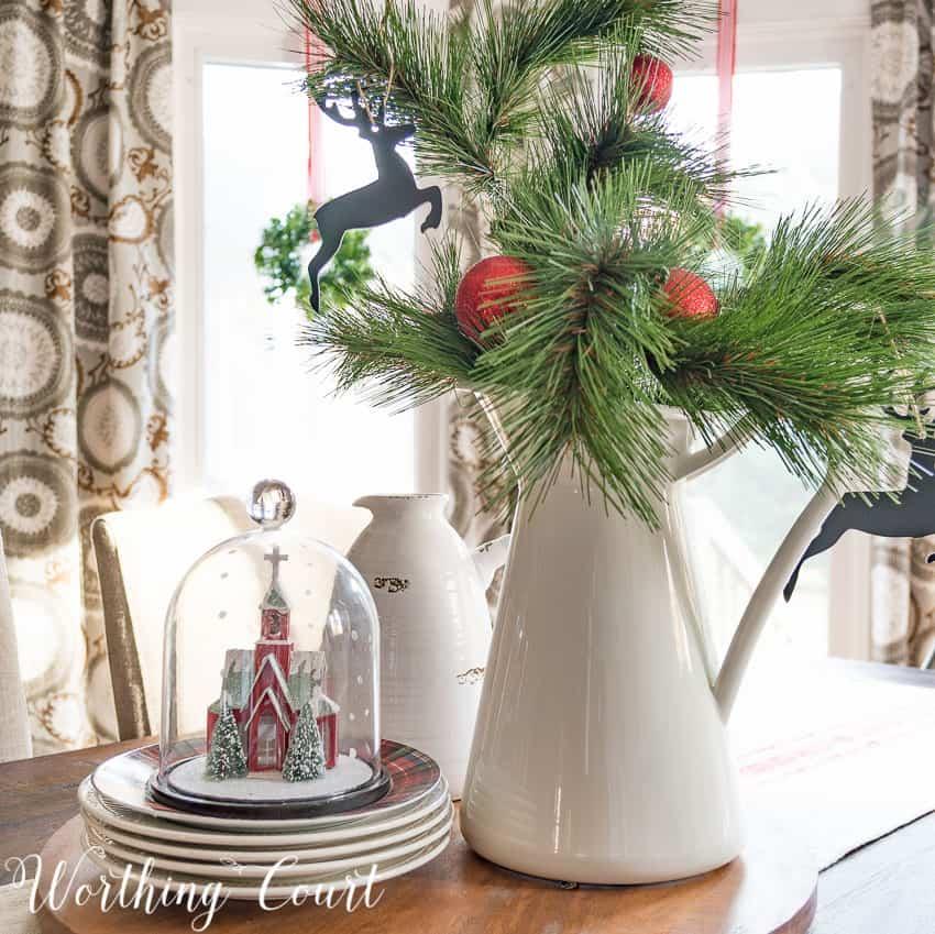Farmhouse kitchen table Christmas centerpiece || Worthing Court