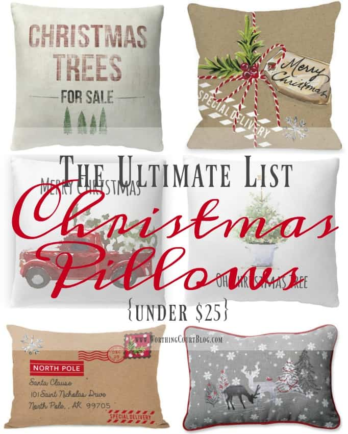 the ultimate list of farmhouse christmas pillows under 25 worthing court - Christmas Pillows