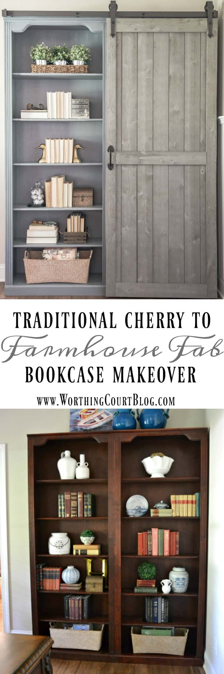 Traditional Cherry Bookcase Makeover With A Diy Sliding Barn Door ||  Worthing Court