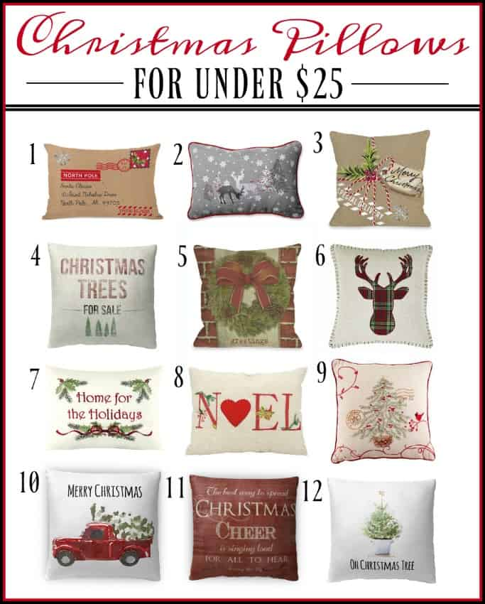 The Ultimate List Of Farmhouse Christmas Pillows Under $25 || Worthing Court