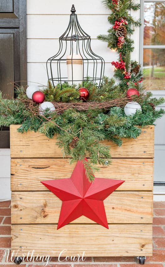 DIY rustic wood planter decorated for Christmas || Worthing Court