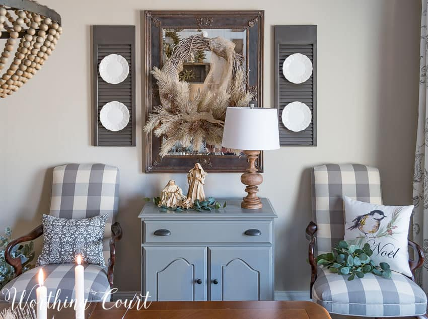 Rustic farmhouse glam Christmas dining room sideboard and mirror || Worthing Court