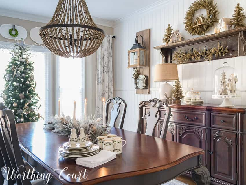 Rustic Glam Farmhouse Christmas Dining Room || Worthing Court