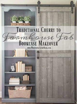 Bookcase Makeover – Traditional Cherry To Farmhouse Fab!