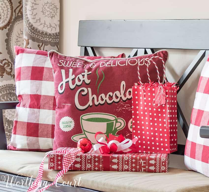 Red and white buffalo check Christmas pillows || Worthing Court