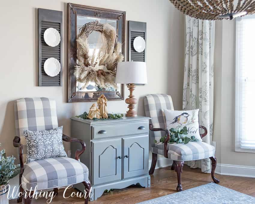 Sideboard and mirror rustic glam Christmas decorations