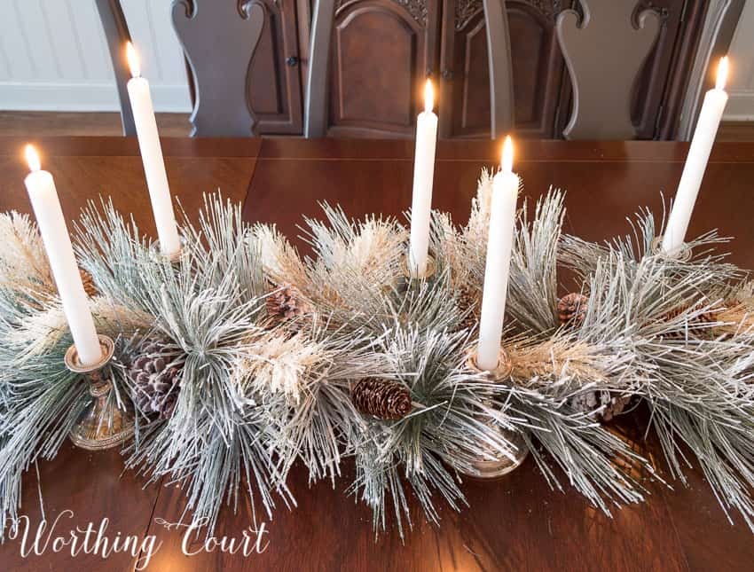 Simple Christmas table centerpiece || Worthing Court