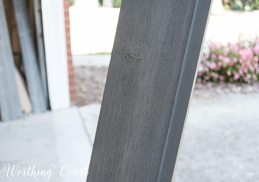 Rabbited edge of lumber for a diy barn door.