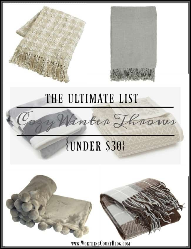 Cozy winter throws for under $30 in neutral colors to go with any decor ||