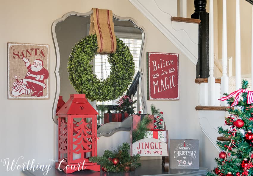 christmas foyer vignette using hallmark brand decor from walgreens worthing court