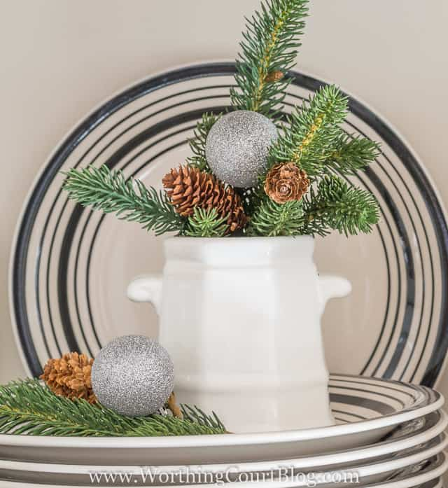 Fill a sugar bowl with real or faux greenery, a pinecone or two and a Christmas ornament. Christmas in under 5 minutes! || Worthing Court