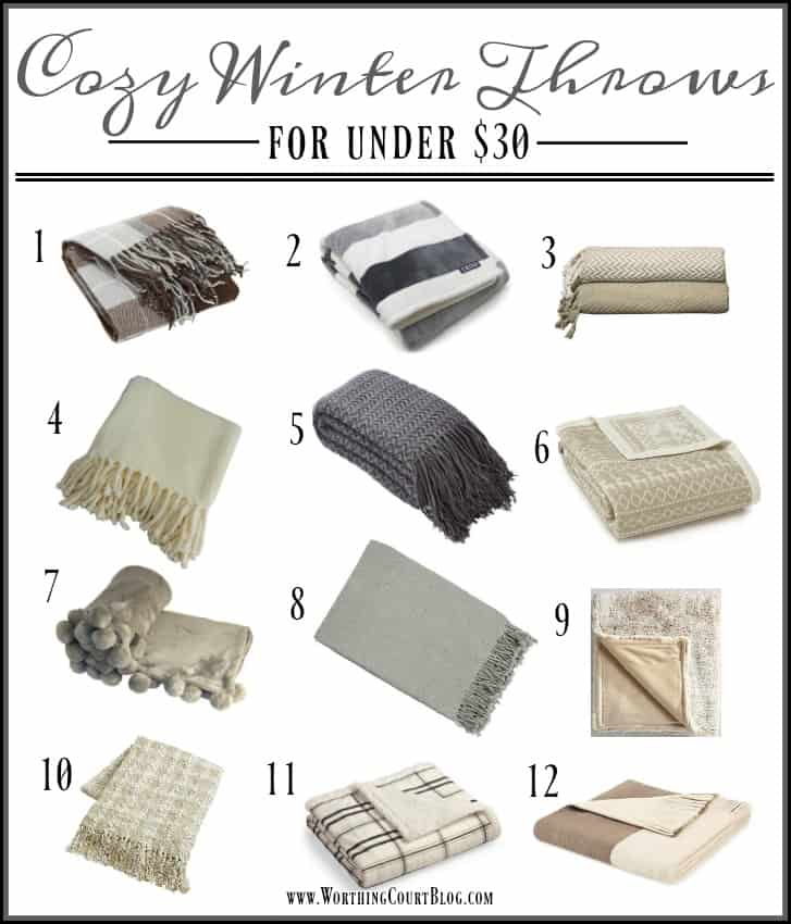 Affordable cozy winter throws in neutral colors to go with any decor || Worthing Court