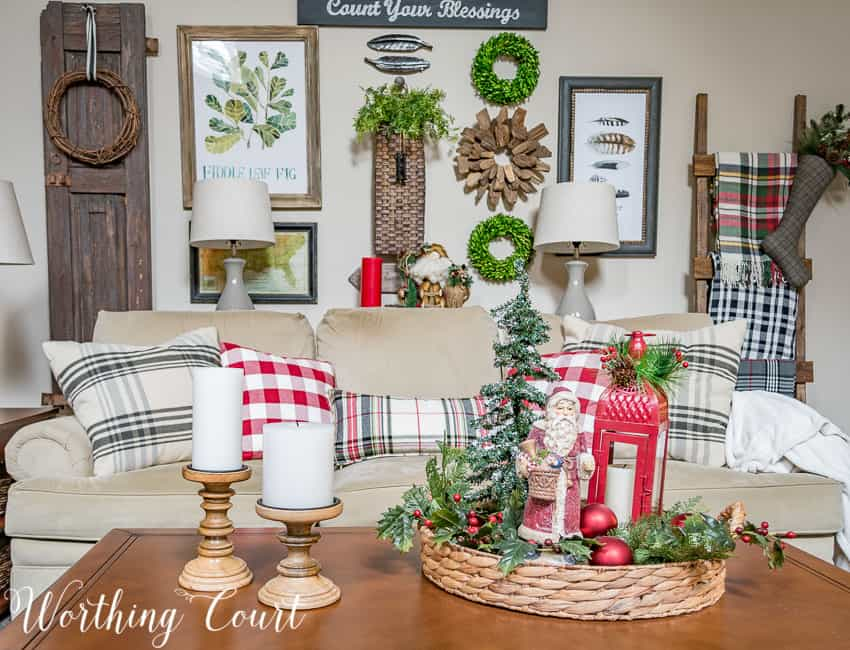 Christmas Santa Claus coffee table vignette in a round tray || Worthing Court