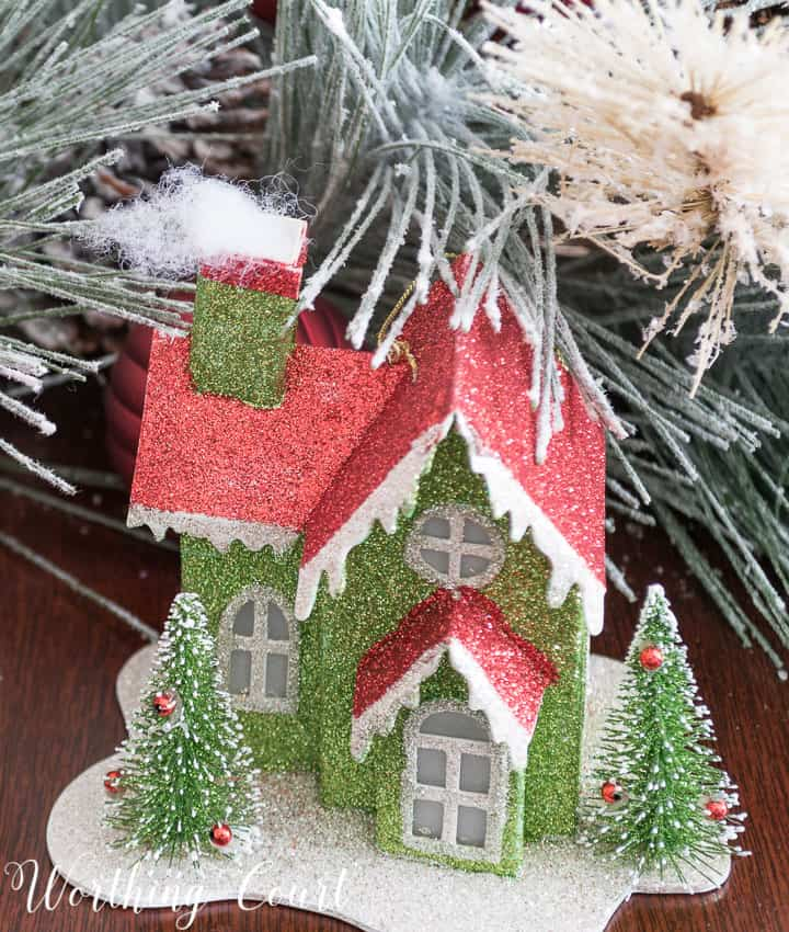 Christmas ornament cardboard glitter house || Worthing Court