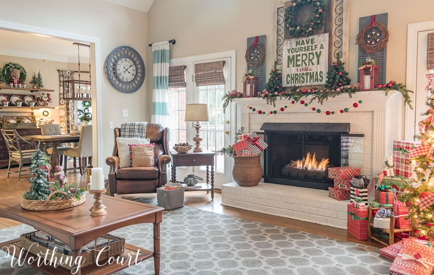 Christmas fireplace and cozy corner || Worthing Court