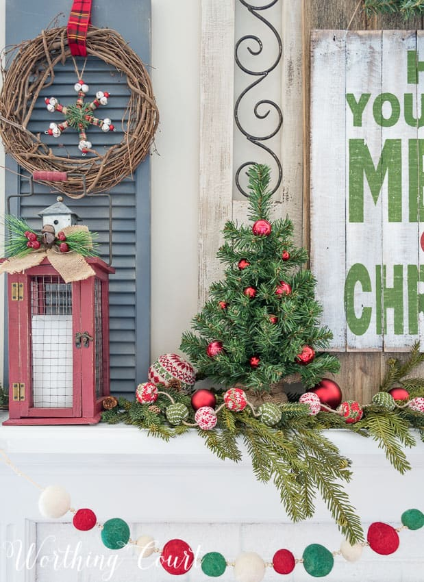 Christmas mantel in traditional red and green Christmas colors