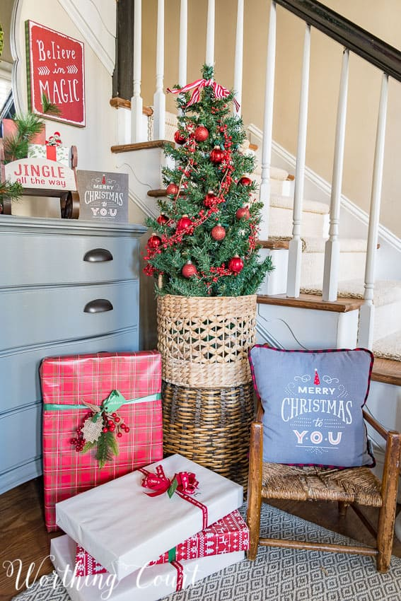 Foyer Christmas decor using Hallmark brand from Walgreens || Worthing Court
