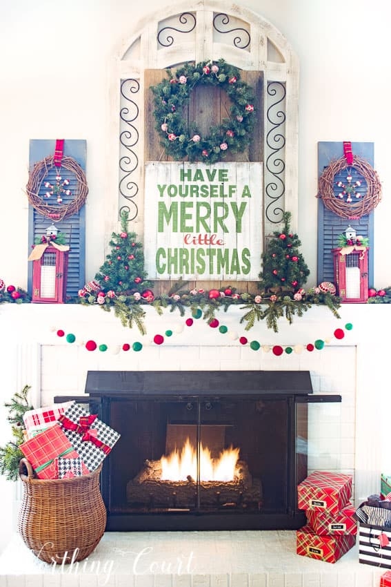 Merry Christmas farmhouse mantel || Worthing Court