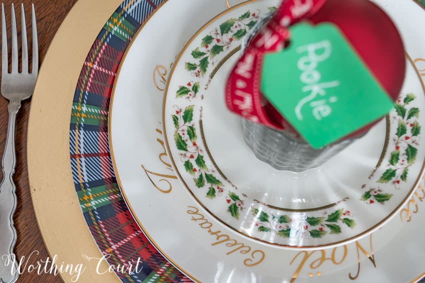 Mixed dinnerware Christmas place setting